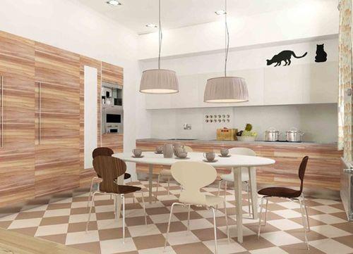 бежевий інтер`єр кухні