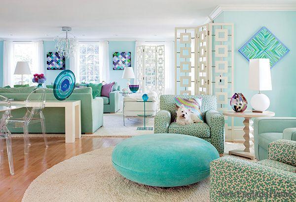 відтінки бірюзового в дизайні вітальні