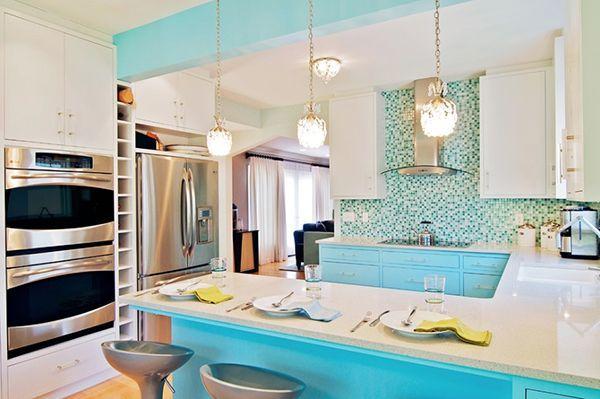 бірюза в дизайні кухні