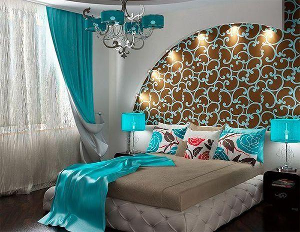 спальня в бірюзовому кольорі