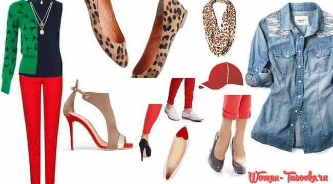 C чим носити червоні джинси: образи, фото