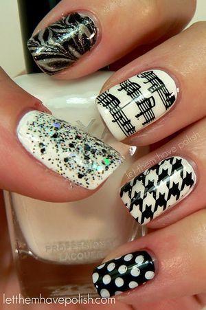 чорно-білий дизайн нігтів