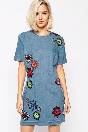 плаття денім з вишивкою