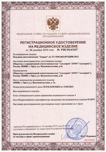 сертифікат відповідності на подушку здоровий