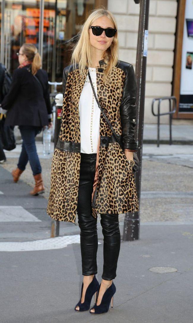 леопардове пальто з шкіряними вставками