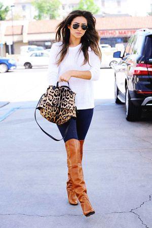 комплект повсякденного одягу в леопардового сумкою