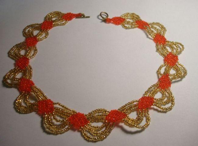 Кольє з бісеру «золота хвиля» - майстер-клас з плетіння прикраси