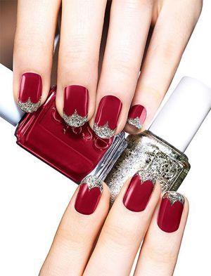 червоний колір нігтів з срібним
