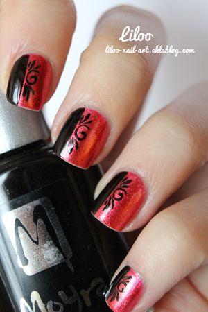 манікюр червоний з чорним