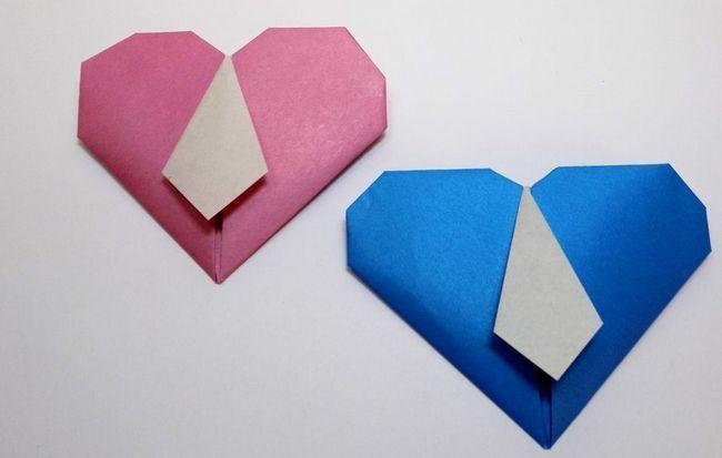 Майстер-клас для любителів робити орігамі своїми руками - серце з краваткою