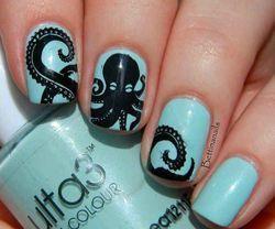 малюнки на нігтях осминог