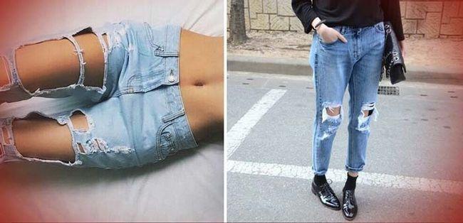Модні рвані і вузькі джинси скинни тенденції