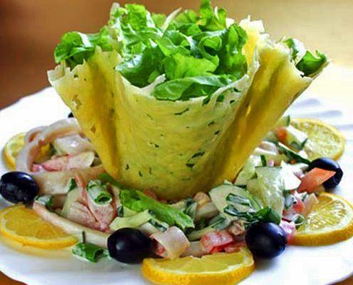 Незвичайні і смачні салатні сирні кошики - рецепт з фото