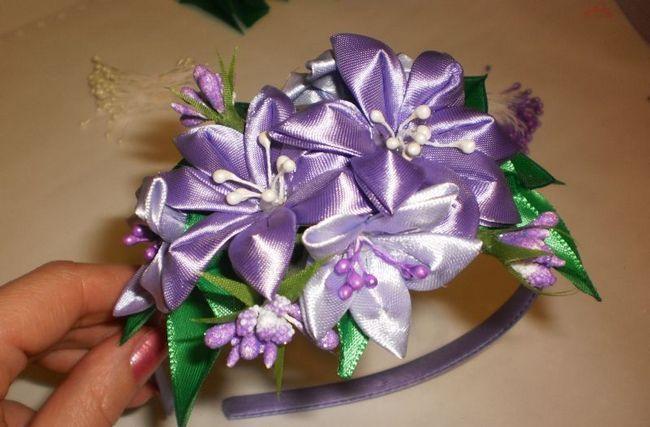 Ніжний квітковий ободок в стилі канзаші - майстер-клас для початківців