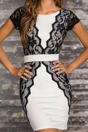 біле плаття з чорним мереживом