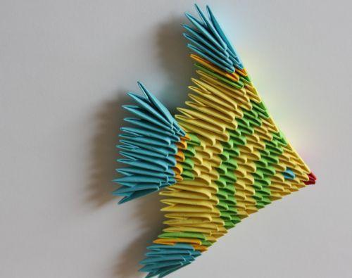 Проста схема збірки модульного орігамі - рибка для початківців майстрів