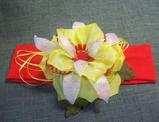 Розкішний об`ємний квітка гільйошування для пов`язки на голову або обідка