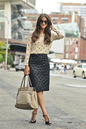 модний образ з бежевою сумкою