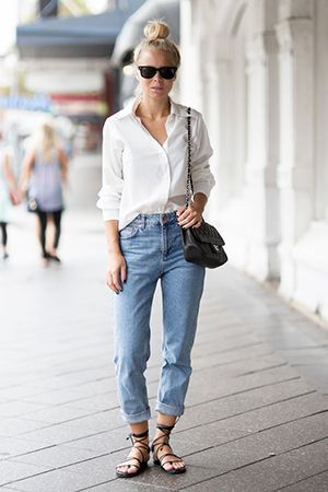 джинси бойфренди з сорочкою