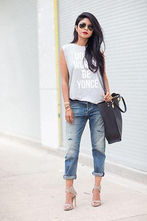 джинси бойфренди з туфлями