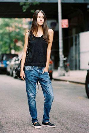джинси бойфренди з майкою
