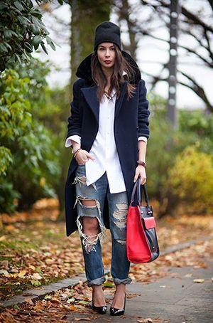 джинси бойфренди з синім пальто