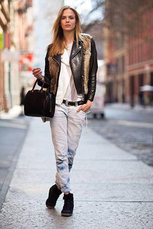 цибуля з джинсами і курткою касухой