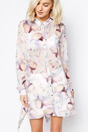 коротке плаття-сорочка з довгим рукавом