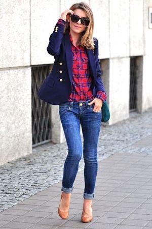 джинси з сорочкою в клітку