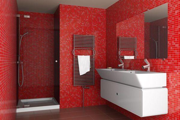 Найприємніший і красивий будильник - ванна кімната в червоному кольорі